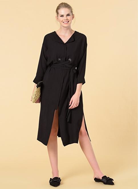 Knit&Co Bağlamalı Düğme Detaylı Midi Elbise Siyah
